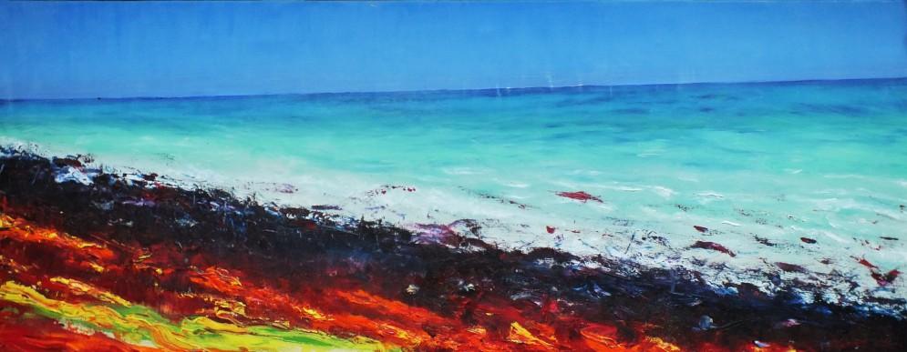 Sylwia Maruszczak-Płuciennik ,,The bloody beach'', oil on canvas, 130/50, 2015.